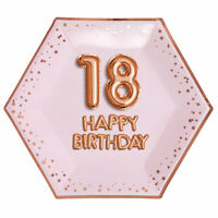 "8 x ROSE GOLD 9"" PLATES 18 HAPPY BIRTHDAY GLITZ & GLAM 18th PARTY PINK HEXAGON"