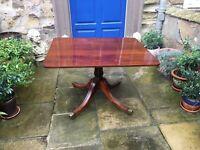 Victorian mahogany pedestal tilt top breakfast or dining table