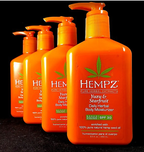 Hempz Yuzu & Starfruit Moisturizer Daily Herbal Hemp Lotion  8.5 oz (LOT OF 4)
