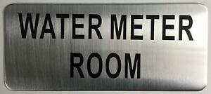WATER METER ROOM SIGN (BRUSH ALUMINIUM, 3.5X8 )-The Mont argent line.