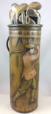 "ROBERTSON OF TORONTO  ""GOLF BAG""  RARE EMBOSSED FIGURAL BRITISH BISCUIT TIN 1920"