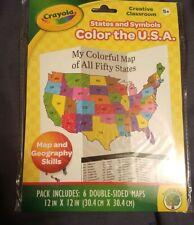 Crayola Creative Classroom Color the Usa states and Symbols maps homeschool Gift