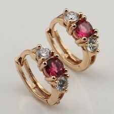Archaize Red Ruby Vogue Jewelry Gift Yellow Gold Filled Huggie Earrings er752
