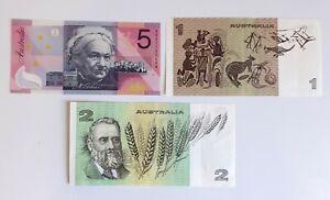 3 Australia Banknotes EF to UNC