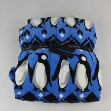 Vera Bradley Throw Blanket Playful Penguins Blue Air Travel Free Shipping New
