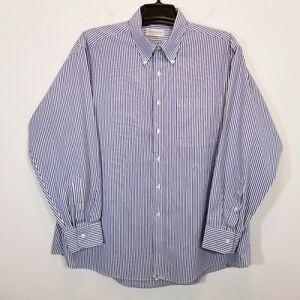 HATHAWAY Mens Purple Stripe Dress Shirt Size 17 1/2  Wrinkle Free Long Sleeve