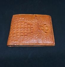 Genuine Crocodile Alligator Skin Leather Man Bifold Wallet Orange