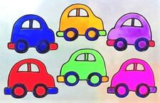 FUNKY CARS, VARIOUS COLOURS BOYS CHILDREN'S BEDROOM DECORATION WINDOW CLINGS