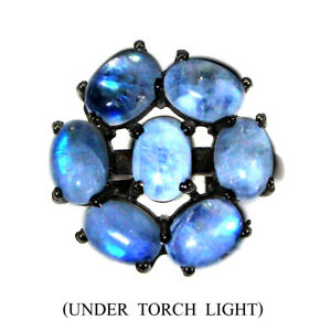 Unheated Oval Moonstone Fire Blue Luster 7x5mm 925 Sterling Silver Ring Size 6.5