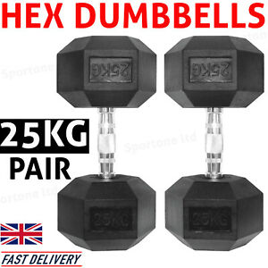 Dumbbell Weights 25kg Hex Dumbbells Set with Metal Handles Gym Fitness Training