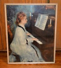 VTG Young Woman at the Piano Pierre-Auguste Renoir Print FRAMED Textured Brush
