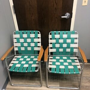 Lot of 2 Vintage Folding Aluminum Lawn Chairs w/ Wood Arms Green White Webbing