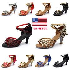 US Women Latin Tango Stiletto Open Toe Dancing High Heels Sandals Shoes Evening