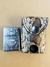 Authentic ZIPPO handmade PYTHON SNAKE skin lighter leather case holder BURMESE