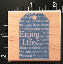 ENJOY LIFE WORD BACKGROUND TAG Hero Arts Wood Mounted Rubber Stamp