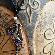 Dragon Crystal Medieval Gothic Pewter Pendant Charm with Cotton Necklace # 1027