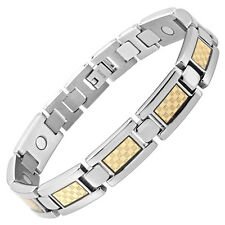 Willis Judd New Mens Titanium Magnetic Bracelet Gold Carbon Fiber Free Adjuster