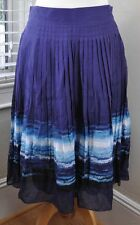 Alfani Ocean Blue Long Skirt Cotton Silk Cruise  sz 10