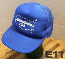 VINTAGE HOBBYTOWN USA TRUCKERS HAT BLUE SNAPBACK MESH BACK VERY GOOD COND E17