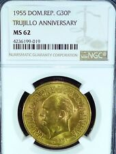 GOLD COIN - 1955 DOMINICAN. REP. 30 PESOS MS 62 NGC -KM# 24 (over $2000 in gold)