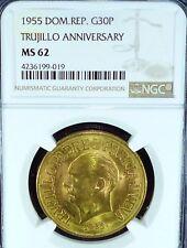 GOLD COIN - 1955 DOMINICAN. REP. 30 PESOS TRUJILLO ANNIVERSARY MS 62 NGC