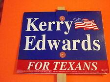 JOHN KERRY/JOHN EDWARDS POLITICAL LAWN SIGN W/STAKE-2004-Still New