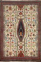 Vintage IVORY Geometric Tribal Area Rug Wool Hand-knotted Oriental Carpet 4x6