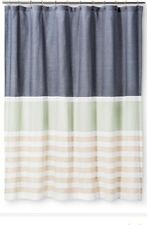 tan striped shower curtain. Threshold Textured Stripes Shower Curtain Indigo Blue Green Tan NWOT Polyester Curtains  eBay