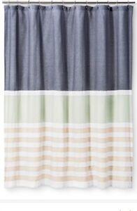 Threshold Textured Stripes Shower Curtain Indigo Blue Green Tan NWOT