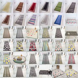Machine Washable Anti Slip Hall Runner Rugs Cheap Long Easy Clean Hallway Mat UK