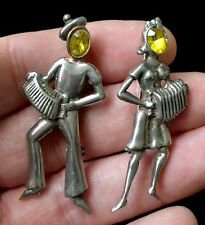 """(2) Vintage Sterling Silver Street Musicians Brooches 2 1/4"""" D610"""