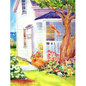 Carolines Treasures 6040GF 11 x 15 in. White Cottage House At The Lake Or Bea...