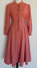 Vintage Kazuki Young Dress Long Sleeve Rustic Coral Size XS-S Cotton Linen