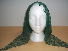 Vintage Green Lady Of Spain Lace Floral Mantilla Scarf/Veil Scalloped - Mint