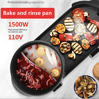 Portable 2 In 1 Indoor Electric Korean Non-stick BBQ Grill W/ Hot Pot Divider