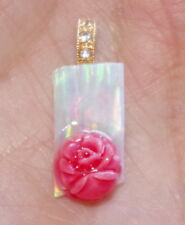 GEM QUALITY 14K / 925 FIERY CUT CREATED OPAL W UNDYED RED FLOWER CORAL PENDENT A