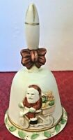 Vintage ORIG BOX Flambro Christmas Bell SANTA ON BICYCLE Bisque Porcelain 1117D