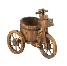 Wooden Barrel Outdoor Country Garden Tricycle Potted Planter Wagon Wheels Patio