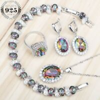 Large Mystic Rainbow Set Necklace Bracelet Ring Earrings Xmas Gifts For Her Wife