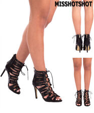 Womens Girls Cut Out Lace Up Stiletto High Hi Heel Strapy Ankle Calf Party Shoes