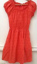 H & M DIVIDED Orange Peasant Eyelet Cotton Elastic Waist Dress Size 6 *