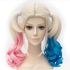 Suicide Squad Harley Quinn Wig Pink Blue Hair Curly Ponytails Wig + Wig Cap