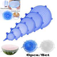 6 Silikon Frischhalte Deckel dehnbar wiederverwendbar Schüssel Tasse Topf Becher