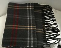CEJON Made In Italy Gray Plaid Acrylic Scarf With Fringe Classic Super Soft Long
