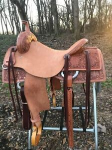 Western Natural Leather Hand Carved Roper Ranch Saddle with Strings 1012