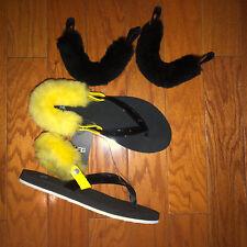 NWOB UGG  LaaLaa  flip flop sandals slippers black patent 2 sets of straps 7 37