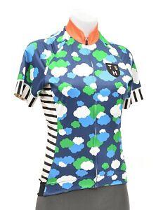 Ten Speed Hero Short Sleeve Cycling Jersey Women MEDIUM Blue Clouds Road Bike