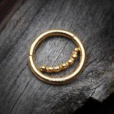 Clicker Hoop Ring Golden Bali Beads Accent