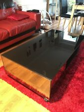 Living Room Coffee Table Modern Black Clear Glass Solid Granite Mirrored Sides