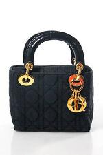 Christian Dior Black Nylon Gold Tone HardwareSolid Micro Lady Handbag Small
